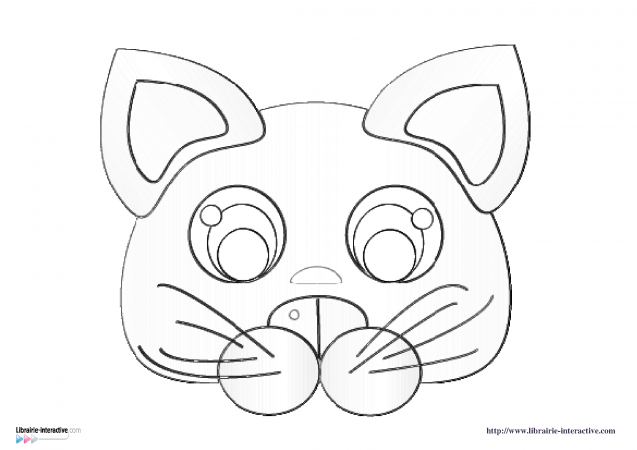 Librairie interactive masques d 39 animaux - Chat coloriage masque ...